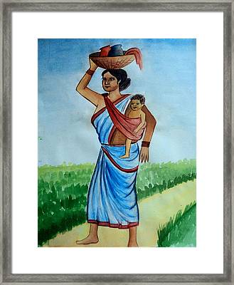 Mother And Child Framed Print by Tanmay Singh