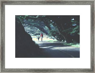 Framed Print featuring the photograph Mother And Child Walking Through Point Reyes Park by Tom Wurl