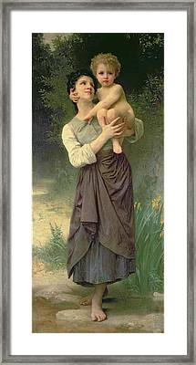 Mother And Child Framed Print by William Adolphe Bouguereau