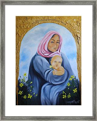 Mother And Child With Yellow Flowers Framed Print by Johnny Otilano