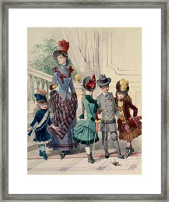 Mother And Children In Indoor Costume Framed Print by Jules David