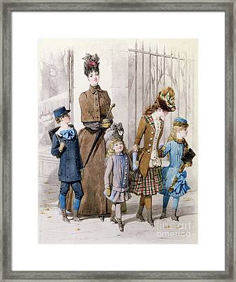 Mother And Children In Walking Dress  Framed Print by Jules David