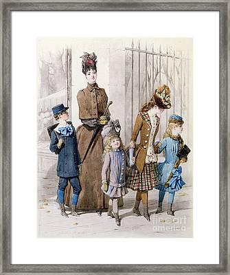 Mother And Children In Walking Dress  Framed Print