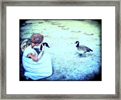 Mother And Geese Framed Print