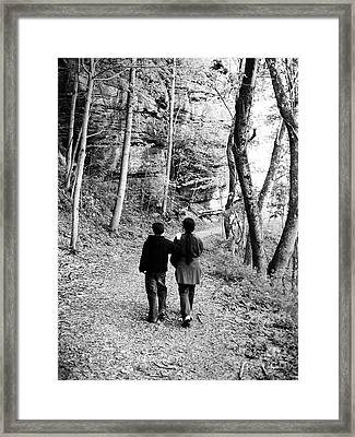 Mother And Son Together Framed Print