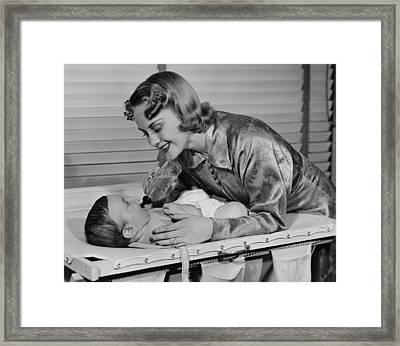 Mother Feeding Baby (3-6 Months) With Baby Bottle, (b&w) Framed Print by George Marks