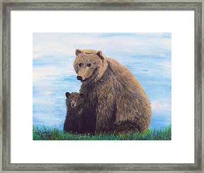 Framed Print featuring the painting Mother Love  Two by Stuart B Yaeger