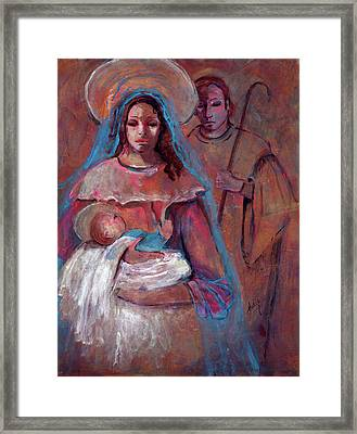 Mother Mary With Joseph And Jesus Baby Framed Print by Mary DuCharme