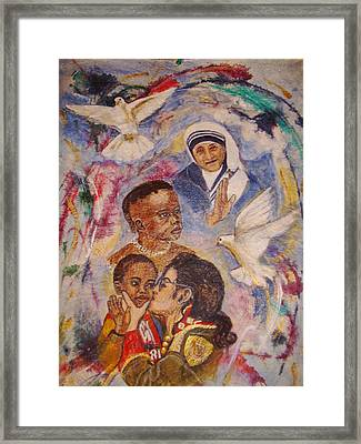 Mother Theresa And Michael Jackson For The Lost Children Framed Print by Jocelyne Beatrice Ruchonnet