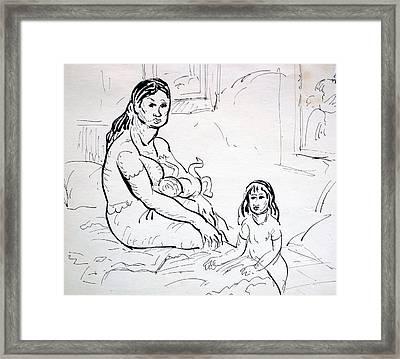 Mother With Children Framed Print by Bill Joseph  Markowski