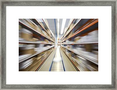 Motion Blur Of A Warehouse Conveyor Belt Framed Print