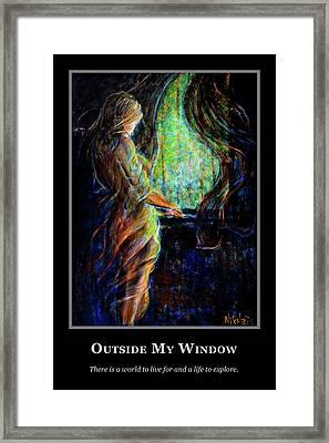 Framed Print featuring the painting Motivational - Explore by Nik Helbig
