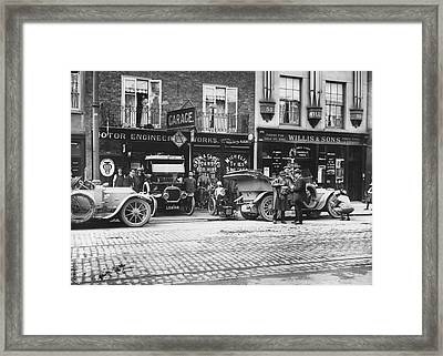 Motor Garage Framed Print by Topical Press Agency