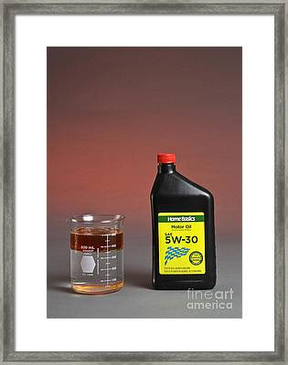 Motor Oil Dissolution Test Framed Print by Photo Researchers, Inc.