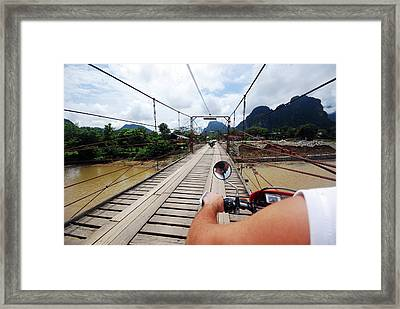 Motorbike Road Trip Framed Print by Thepurpledoor