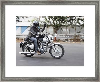 Motorbiker Peace Framed Print by Kantilal Patel