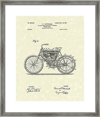 Motorcycle 1901 Patent Art Framed Print by Prior Art Design