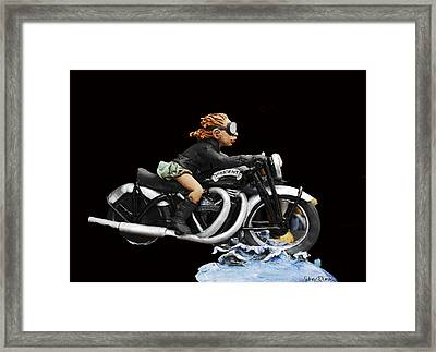 Motorcycle Girl Framed Print by Sidney Dumas