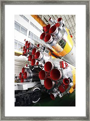 Motors Of A Soyuz Rocket Framed Print by Ria Novosti