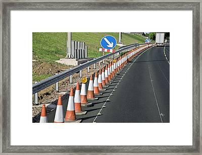 Motorway Traffic Cones Framed Print by Linda Wright