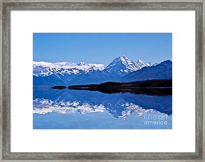 Mount Cook With Reflection Framed Print by Avalon Fine Art Photography