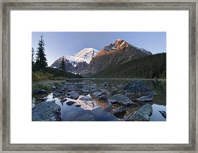 Mount Edith Cavell, Cavell Lake, Jasper Framed Print by Philippe Widling