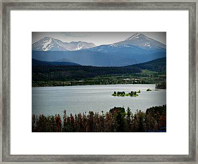 Mount Guyot And Bald Mountain Over Dillon Reservoir Framed Print