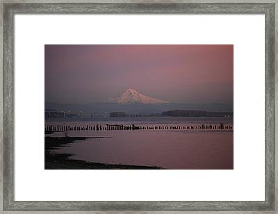 Mount Hood And Columbia River Oregon Washington Framed Print by Sam Amato