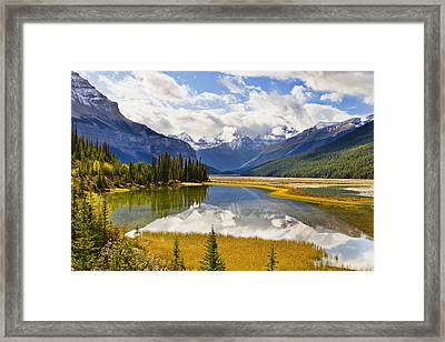 Mount Kitchener Reflected In Pond Framed Print by Yves Marcoux