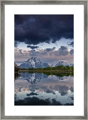 Mount Moran Under Black Cloud Framed Print by Greg Nyquist