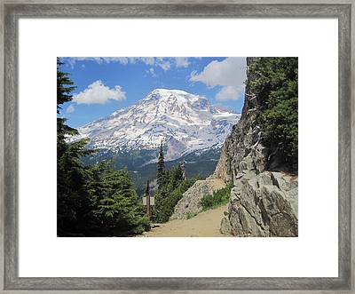 Mount Rainier From The Pinnacle Peak Trail Framed Print by Karen Molenaar Terrell
