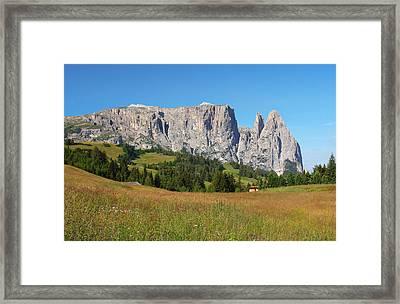 Mount Sciliar In Summer Framed Print by Dan Breckwoldt