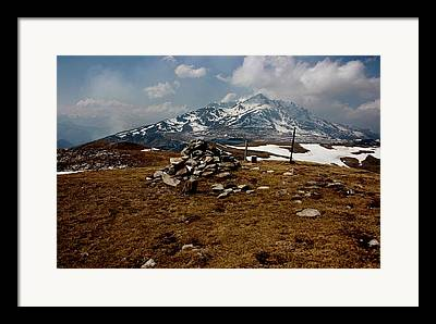 Pyrenees Mountain Hiking Blue White Fields Rock Spring Cairns Framed Prints