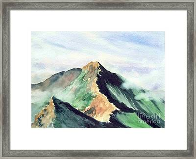 Framed Print featuring the painting Mountain  1 by Yoshiko Mishina