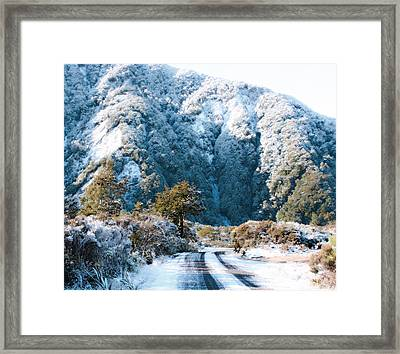 Mountain And Ice Framed Print by Linde Townsend