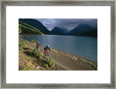 Mountain Biking Around Eklutna Lake Framed Print by Rich Reid