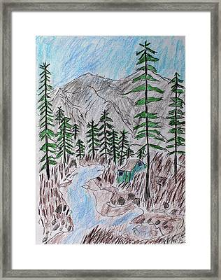 Mountain Cabin Near A Stream Framed Print
