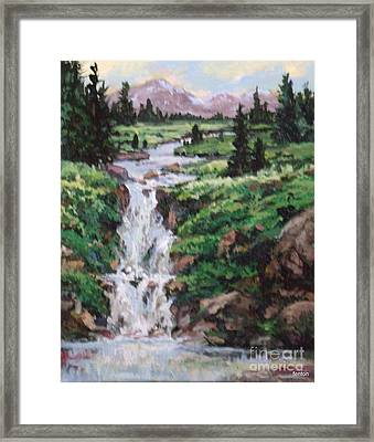 Mountain Cascade Framed Print by W  Scott Fenton