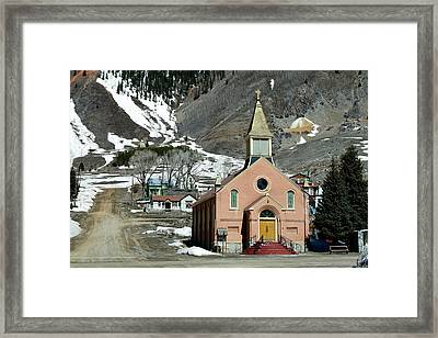 Framed Print featuring the photograph Mountain Chapel With Red Steps by Lorraine Devon Wilke