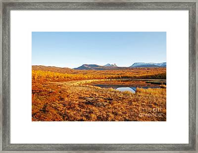 Mountain In Autumn Framed Print by Conny Sjostrom