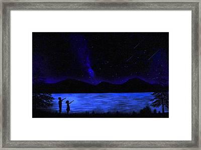 Mountain Lake Glow In The Dark Mural Framed Print