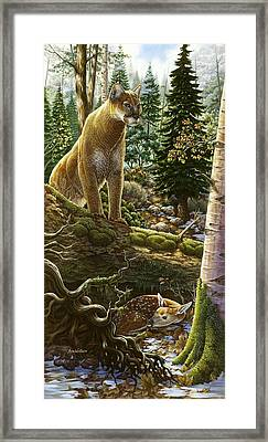 Mountain Lion With Fawn Framed Print by Anne Wertheim