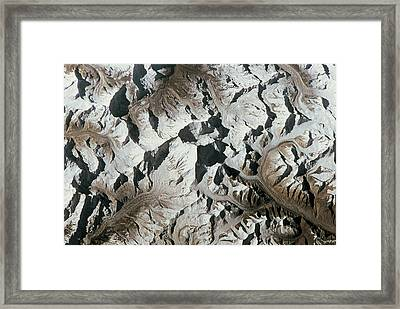 Mountain Range On Earth Viewed From Space Framed Print