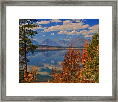 Mountain Reflections In Autumn Grand Tetons Framed Print