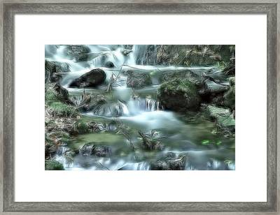 Framed Print featuring the digital art Mountain River Dream by Odon Czintos