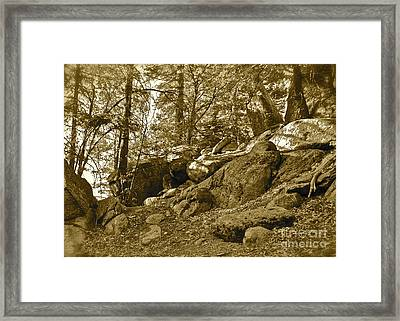 Mountain Rocks Sepia Framed Print