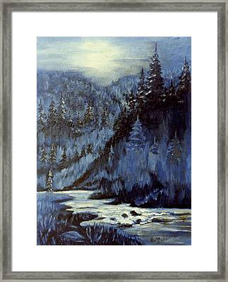 Mountain Stream In Moonlight Framed Print by Ruth Seal