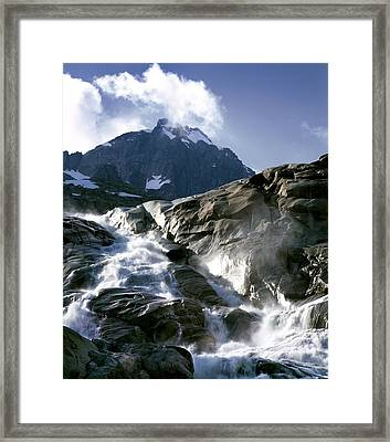 Mountain Stream, Swiss Alps Framed Print by Martin Bond