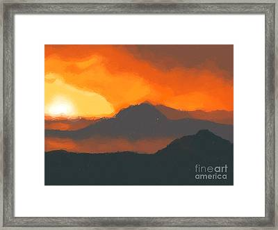 Mountain Sunset Framed Print by Pixel  Chimp