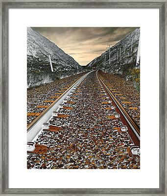 Mountain Tracks Framed Print by James Steele